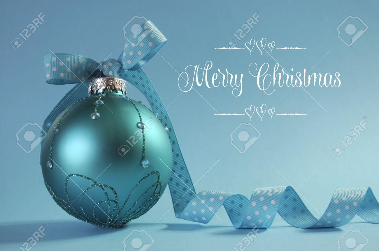 Close Up Of Beautiful Aqua Blue Christmas Tree Ornament With ...