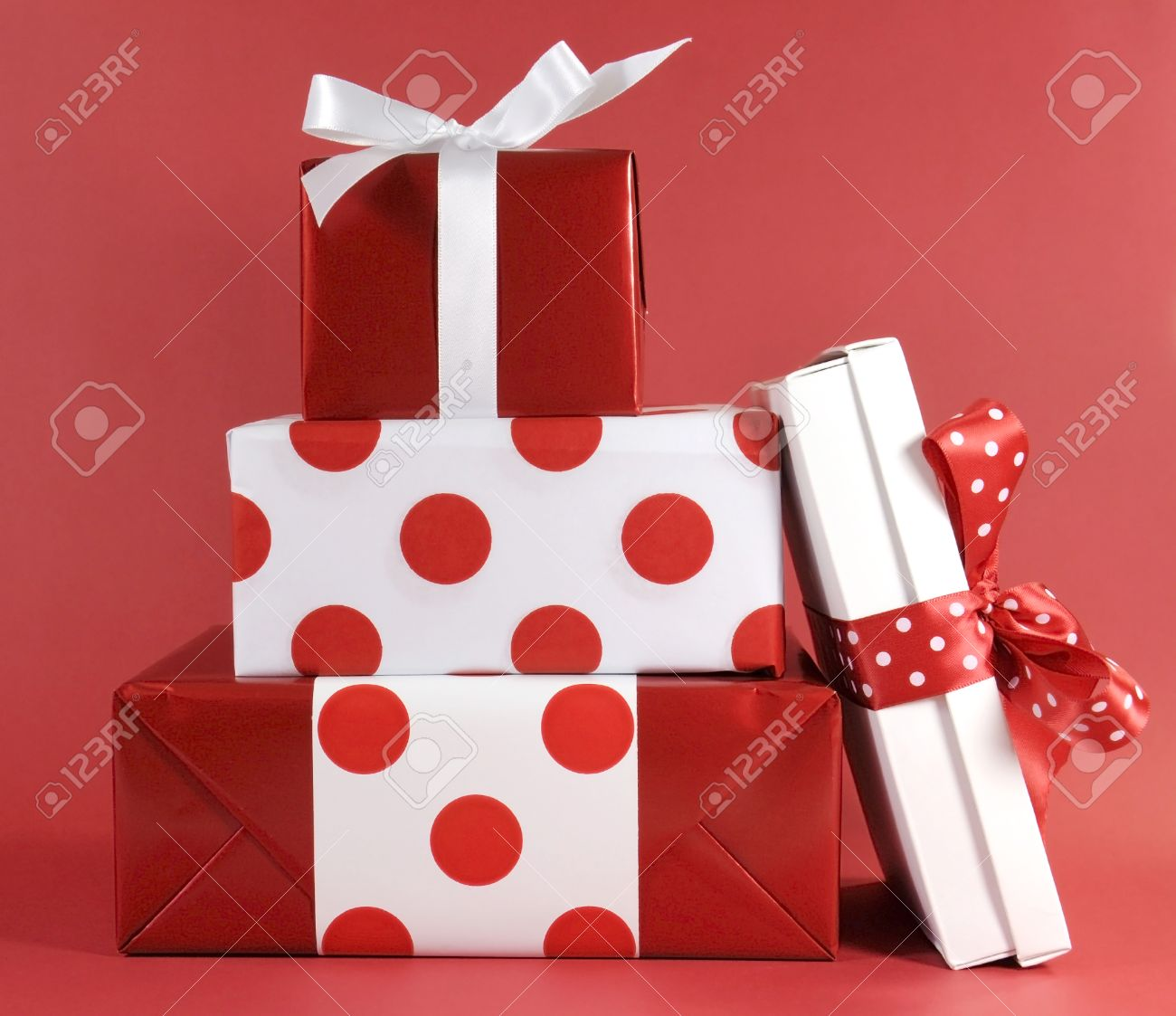 Stack Of Red And White Polka Dot Theme Festive Gift Box Presents For Christmas Valentine