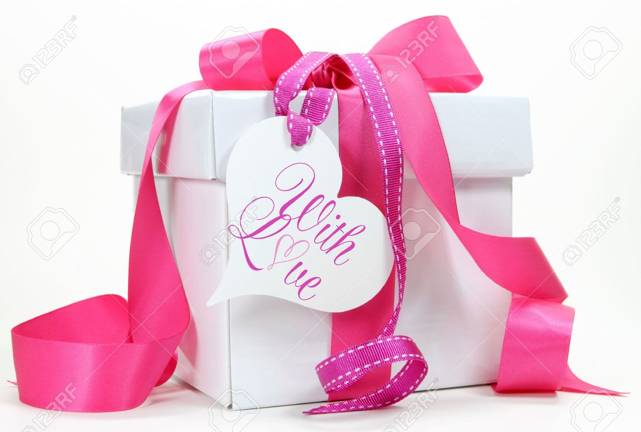 Beautiful Pink And White Gift Box Present For Christmas, Valentine, Birthday,  Wedding Or