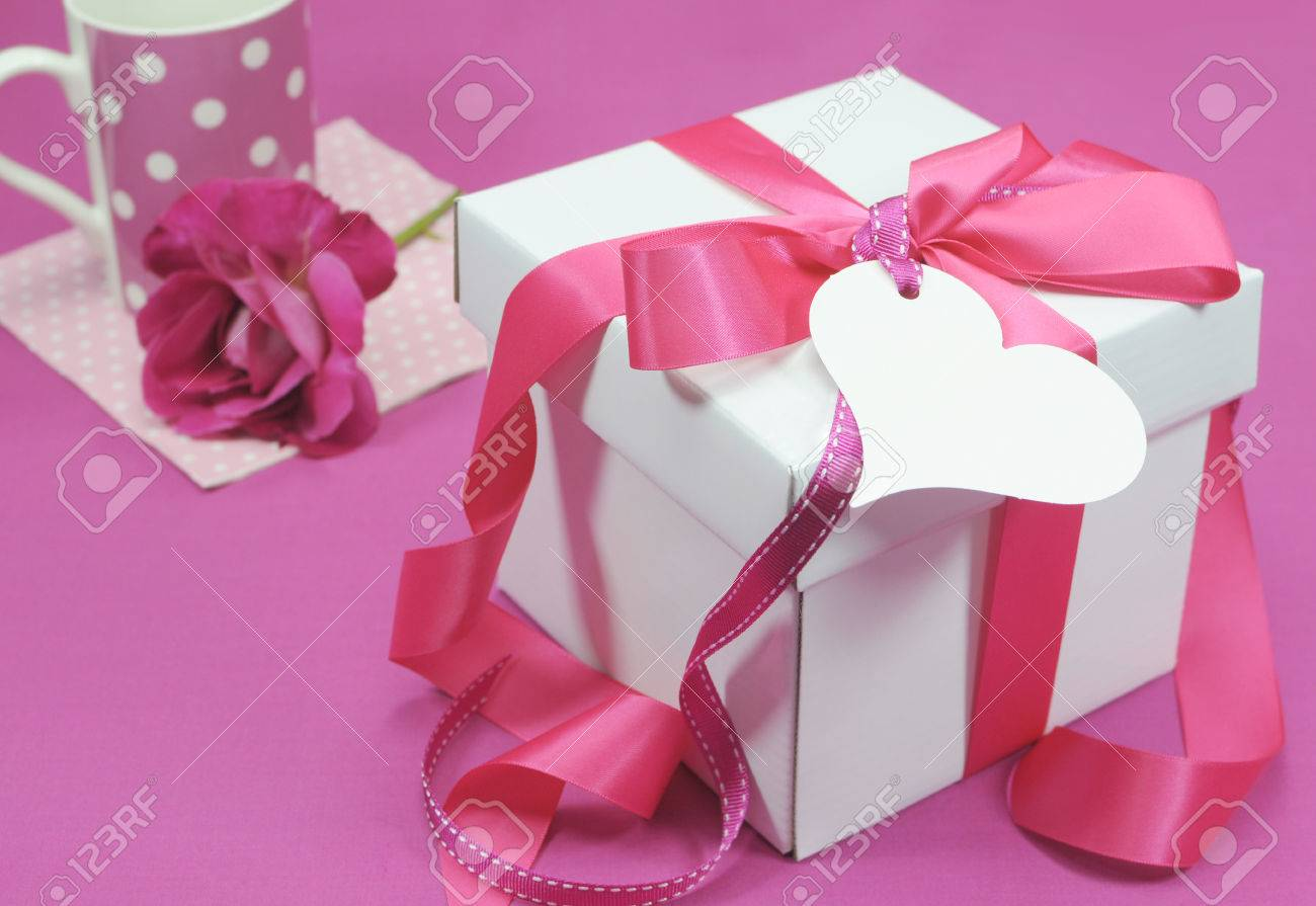 Beautiful Pink And White Gift Box Present For Christmas Valentine Birthday Wedding Or