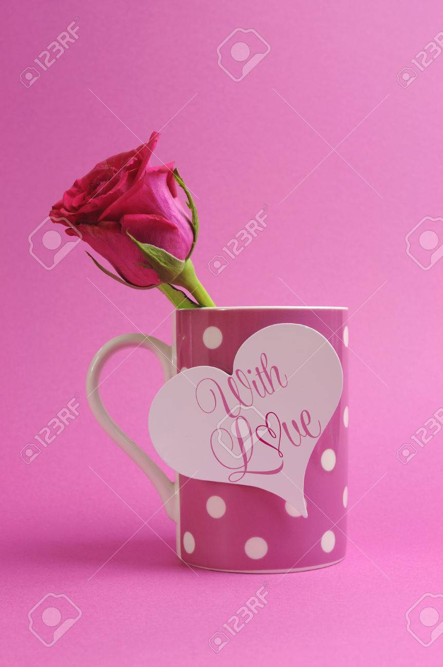 With All My Love Message Greeting On Pink Polka Dot Coffee Mug With