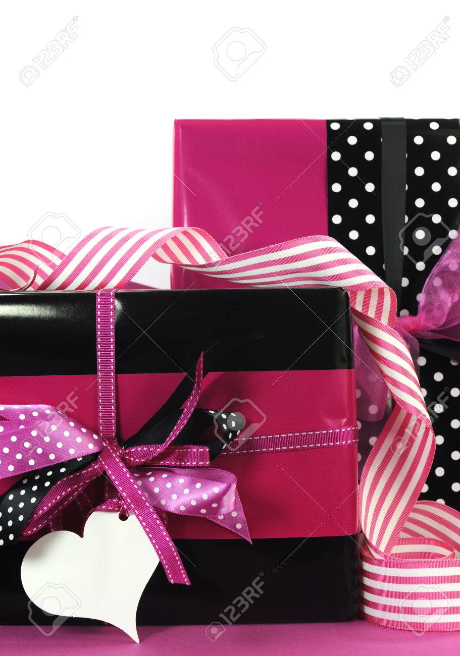 Modern Theme Valentine Or Birthday Gift Box With Hot Candy Pink And Black Polka Dot