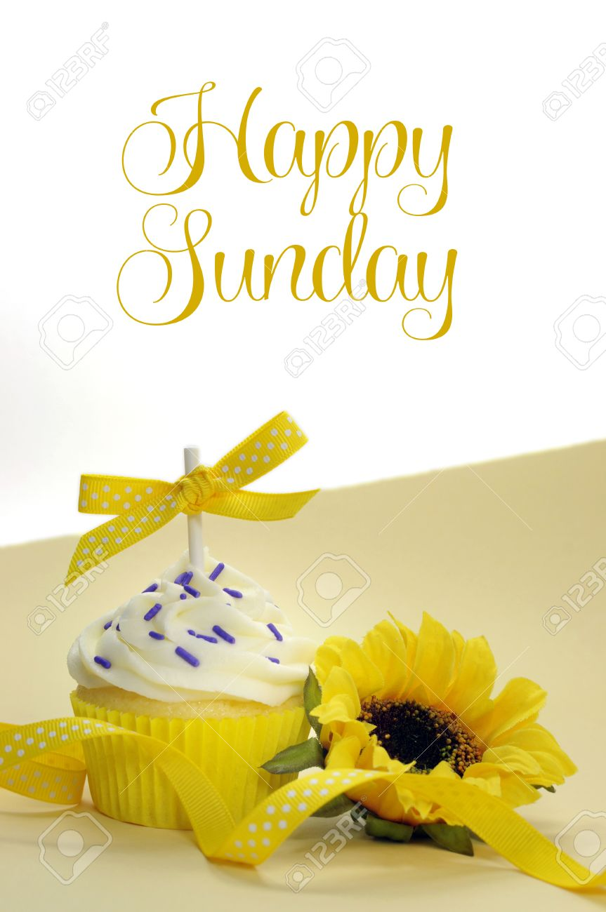 yellow theme cupcake and sunflower with happy sunday sample text