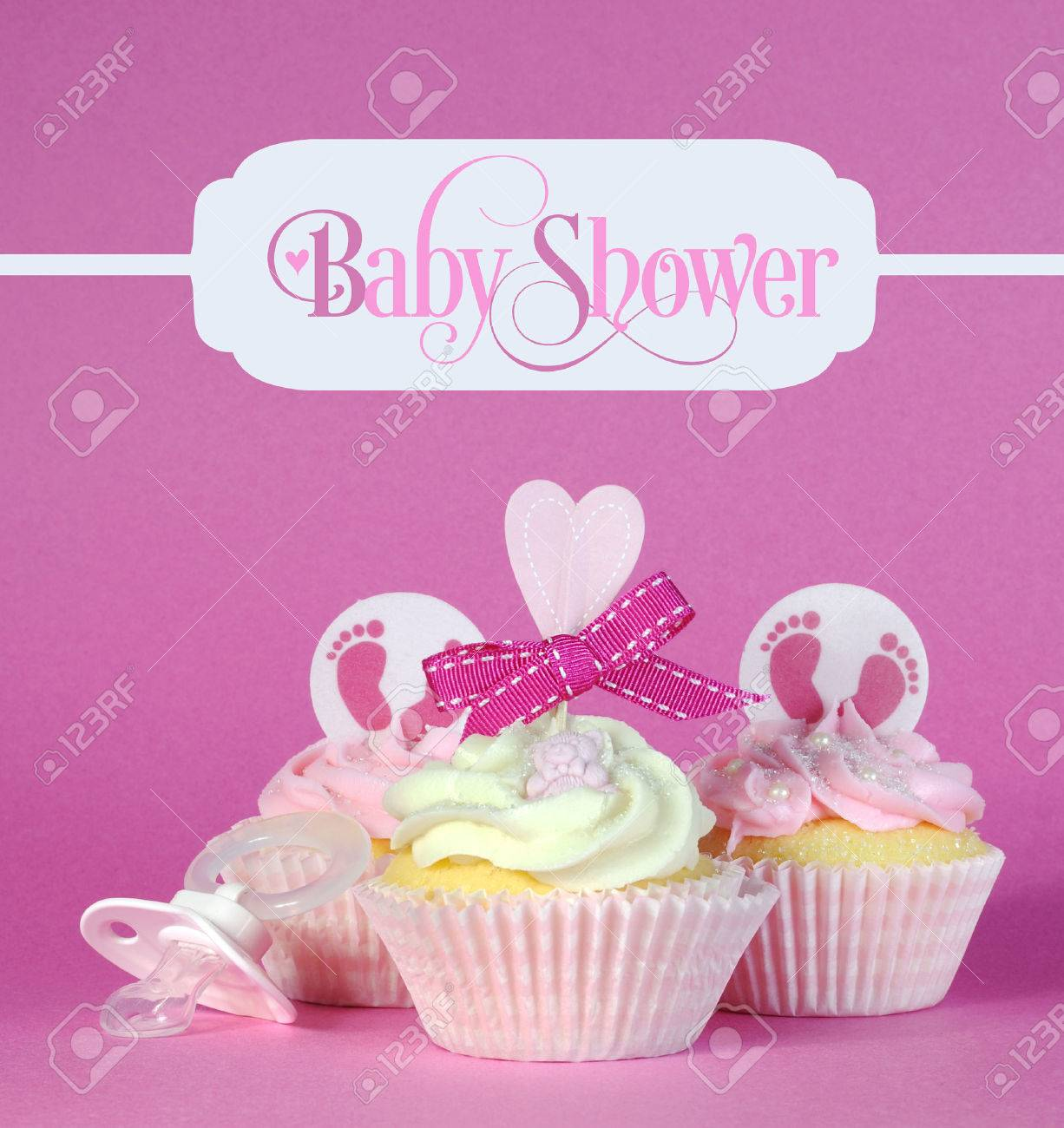 Pink Theme Baby Girl Cupcakes With Greeting Sample Text In Vintage