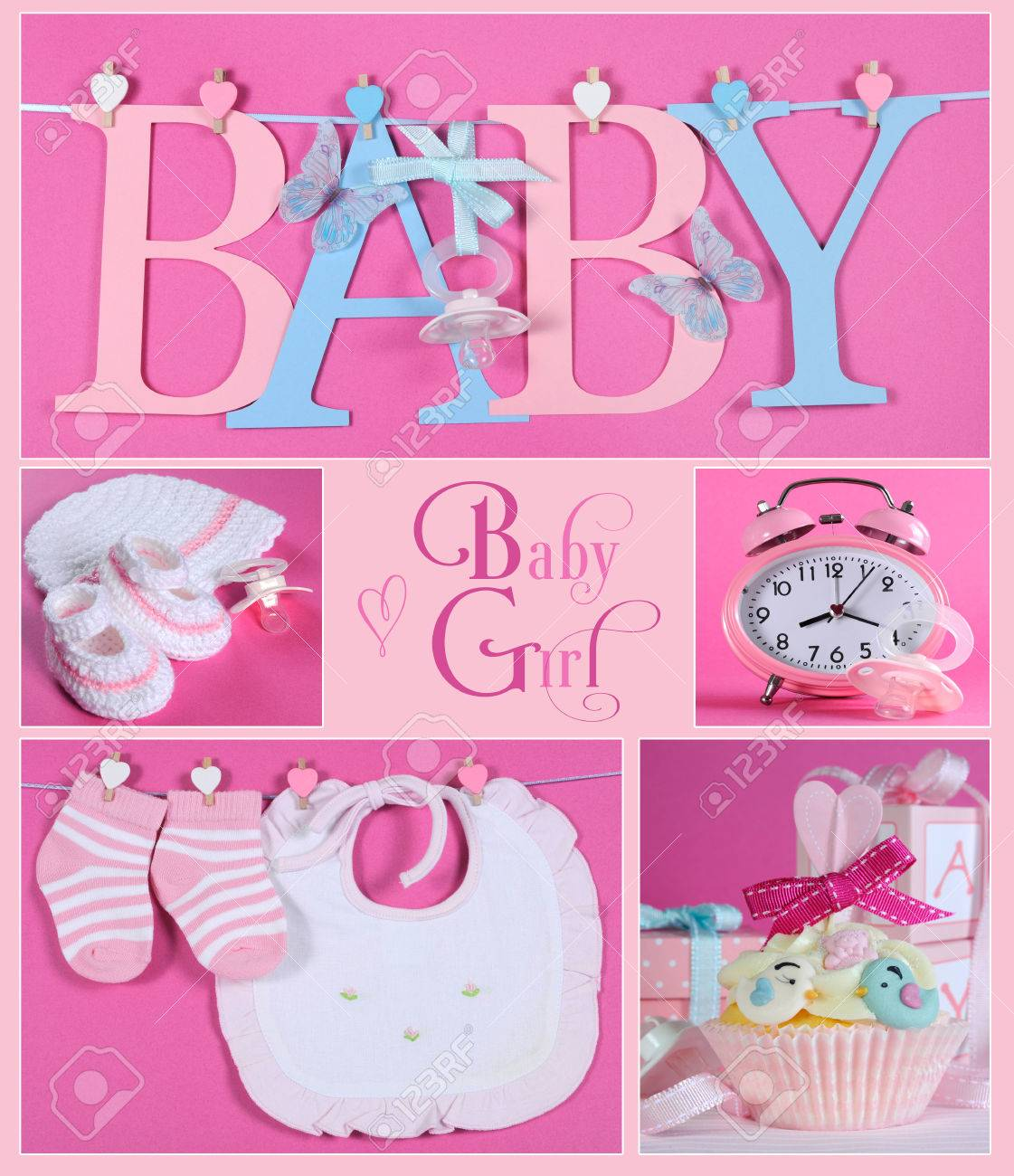 Collage of five pink theme baby girl images and sample text of collage of five pink theme baby girl images and sample text of baby letters bunting hanging spiritdancerdesigns Choice Image