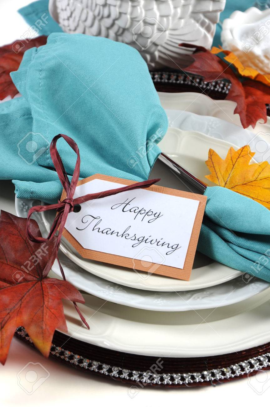 Happy Thanksgiving Dining Table Place Setting In Autumn Brown ...