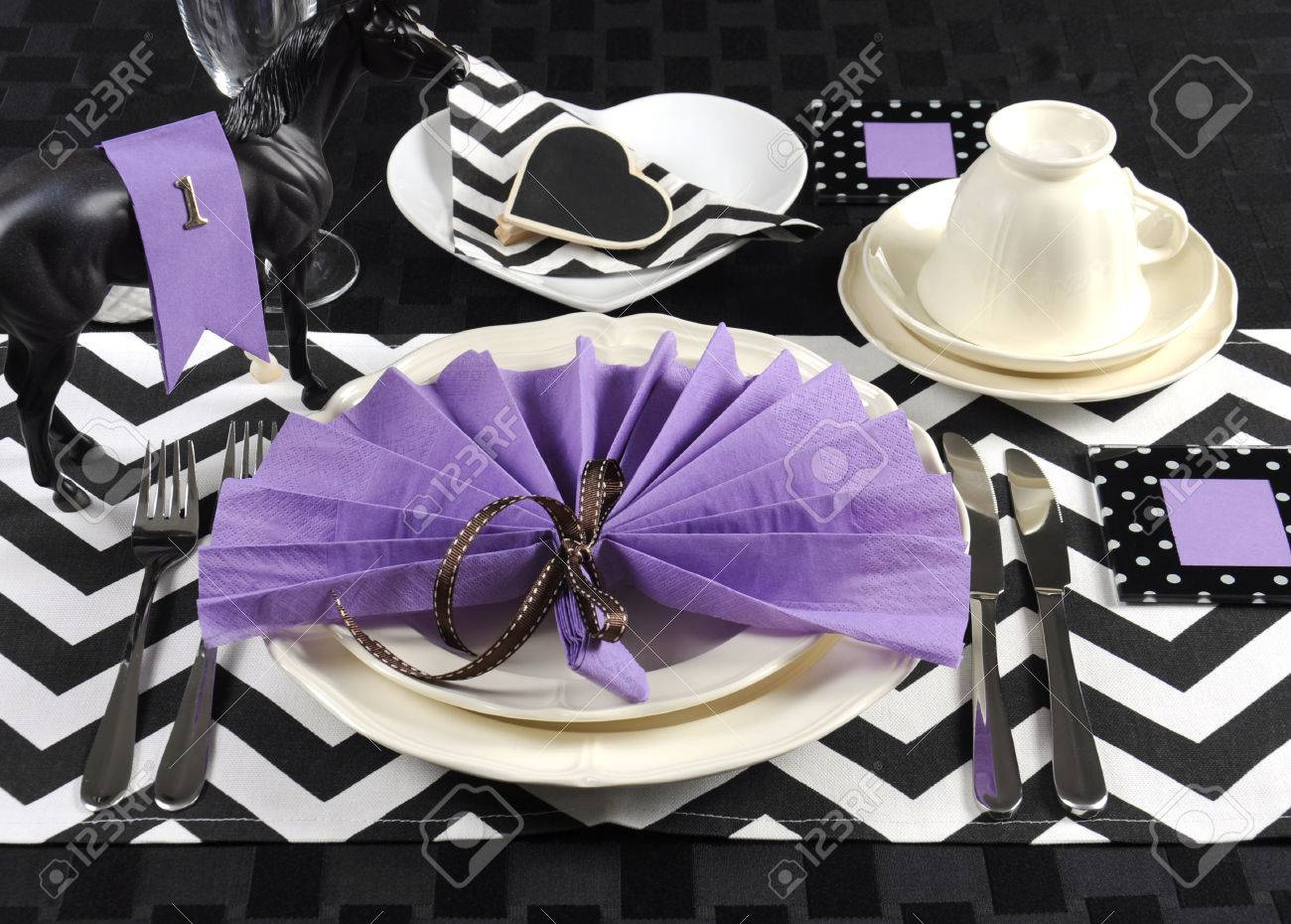 Black and white chevron with purple theme party luncheon table place setting for Melbourne Cup & Black And White Chevron With Purple Theme Party Luncheon Table ...