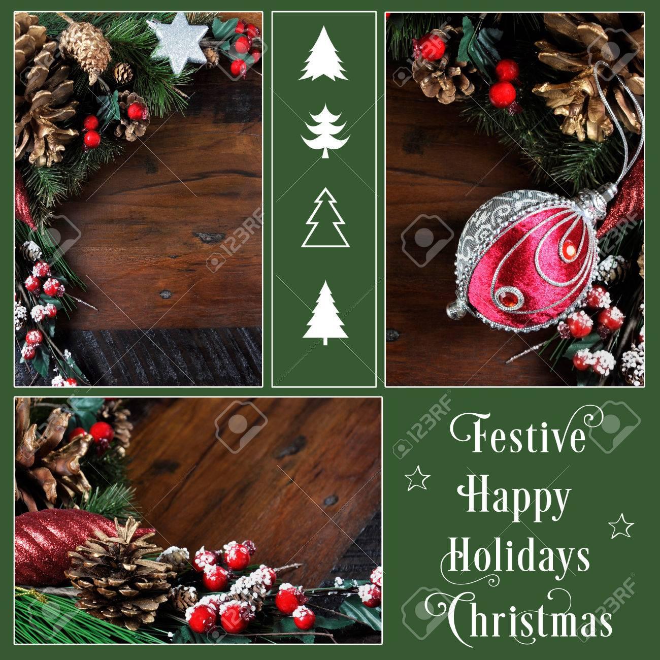 finest great felices fiestas y de fondo de navidad con pias y adornos festivos en oscuro collage with navidad con pias with de navidad con pias - Adornos De Navidad Con Pias