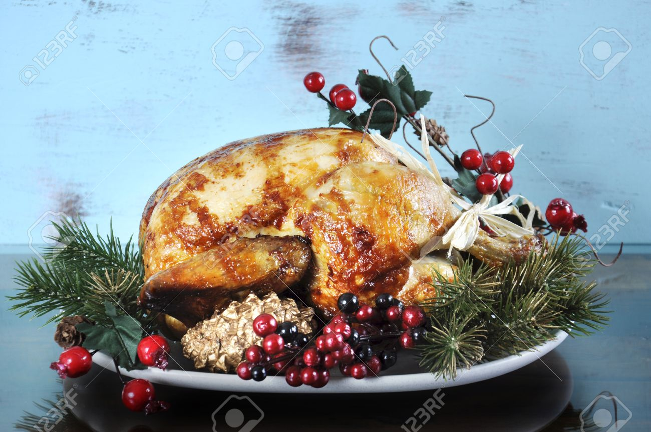 Scrumptious Roast Turkey Chicken On Platter With Festive Decorations