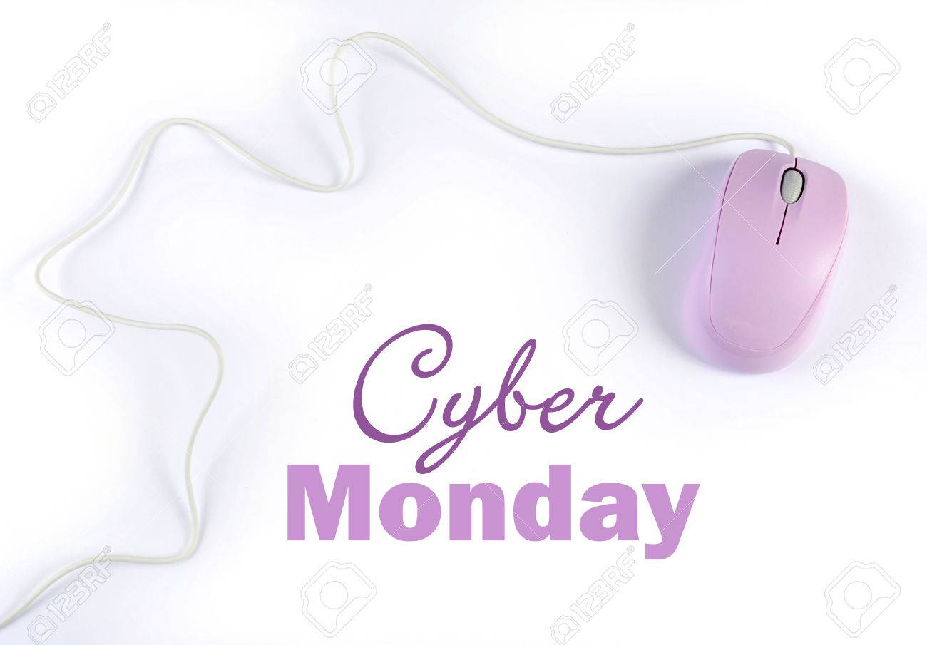 c8696780dc Cyber Monday sale shopping sign with pink purple computer mouse on white  background. Stock Photo
