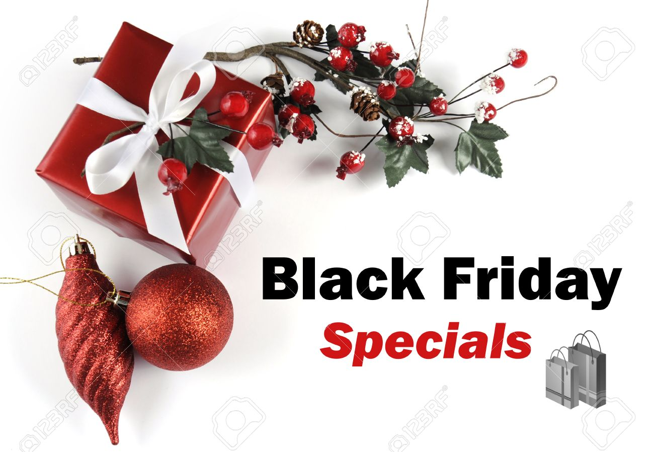 Black Friday Specials Sale Message Greeting With Christmas Gift ...