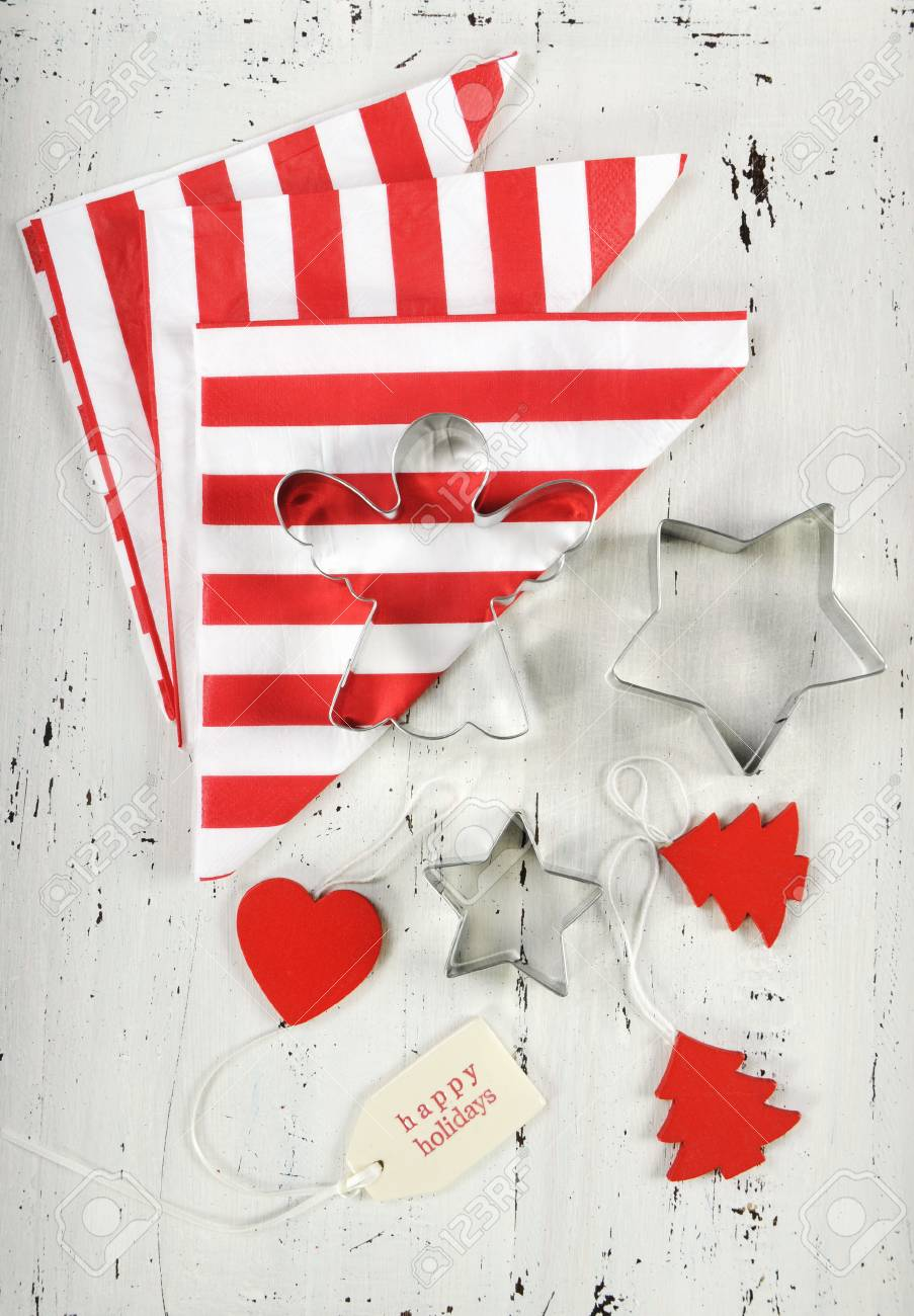 Festive Christmas Holiday Background With Red And White Theme Cookie Cutters Stripe Napkins On Vintage