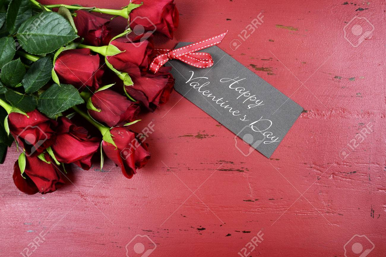 Happy Valentines Day Background With Red Roses With Greeting Stock