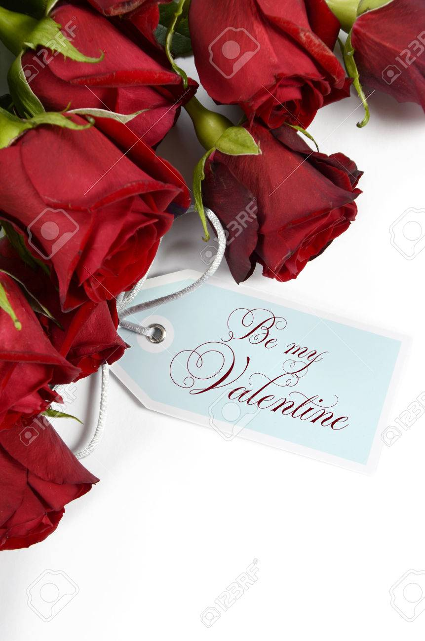 Happy Valentines Day Bouquet Of Red Roses On White Background