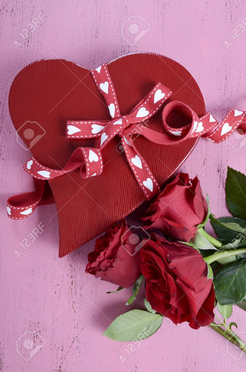 Happy Valentines Day Red Heart Shape Gift Box With Red Roses.. Stock ...