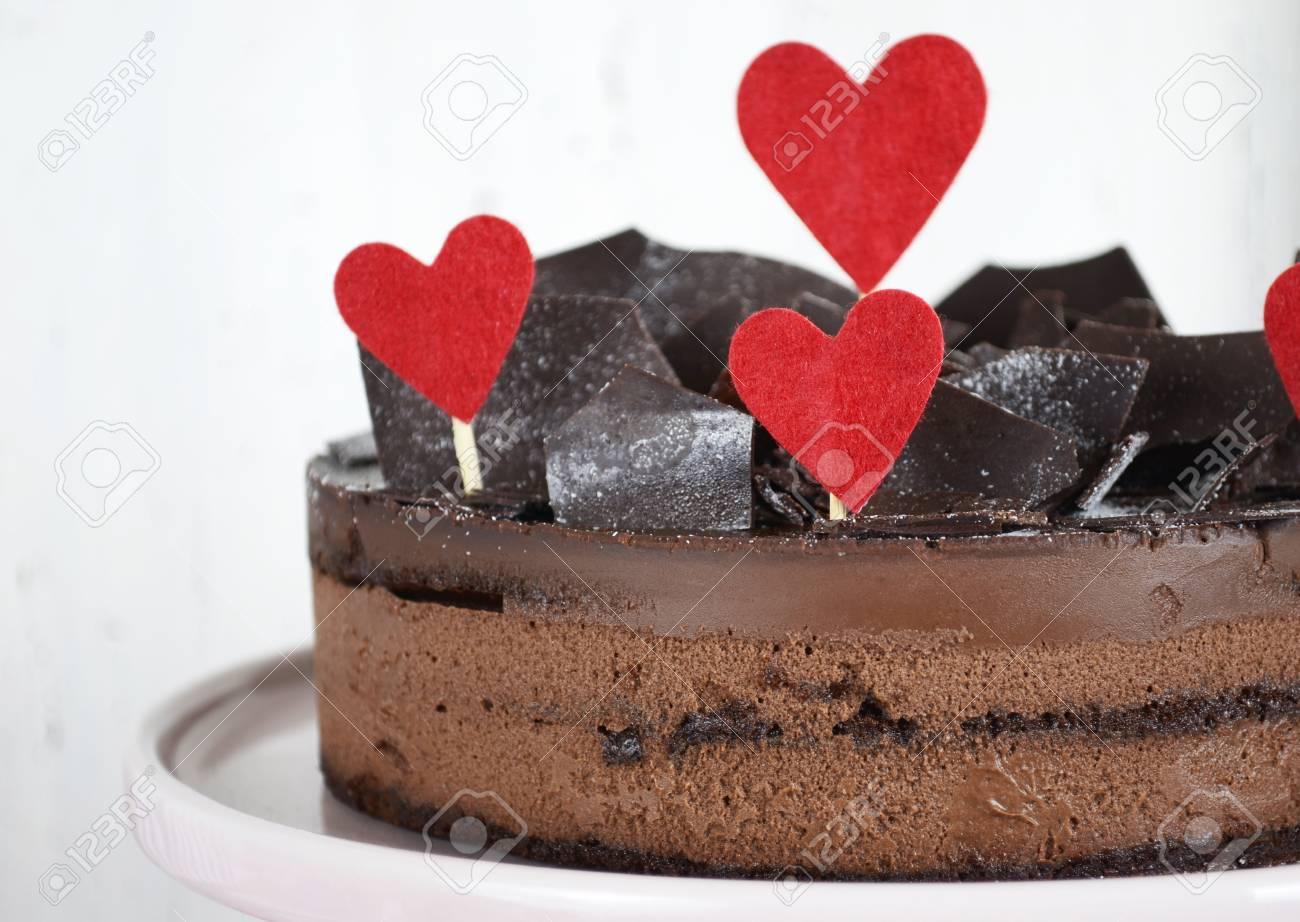 Valentine Chocolate Mousse Layer Gateau Cake With Chocolate Shards