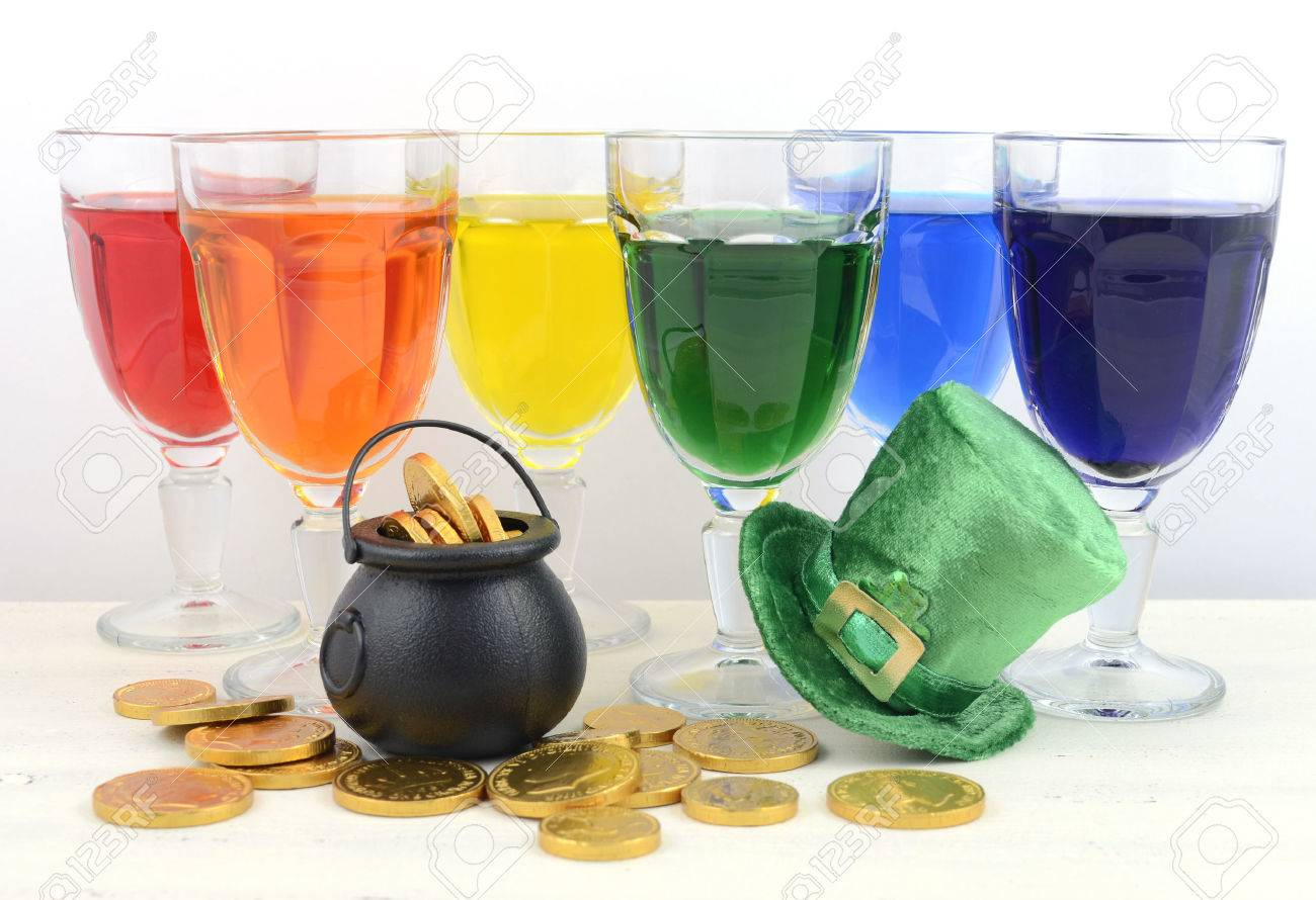 happy st patricks day party rainbow color drinks with decorations