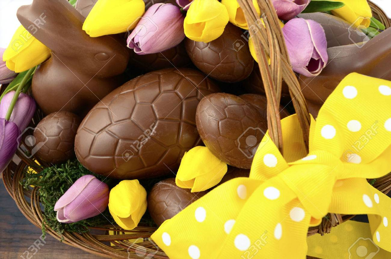happy easter chocolate hamper of eggs and bunny rabbits in large
