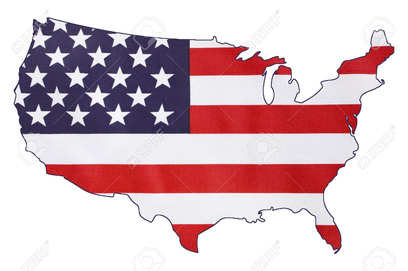 USA Stars And Stripes Flag Within Outline Of USA Map, On White ...