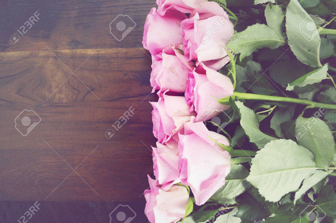 Happy Mothers Day Fresh Pink Roses On Dark Wood Distressed Table ...