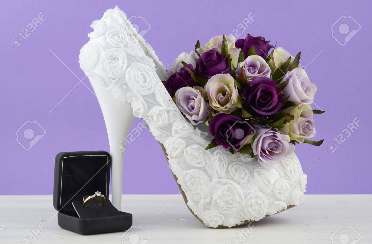 Wedding Theme White Floral Bridal Shoes With Flowers On Shabby
