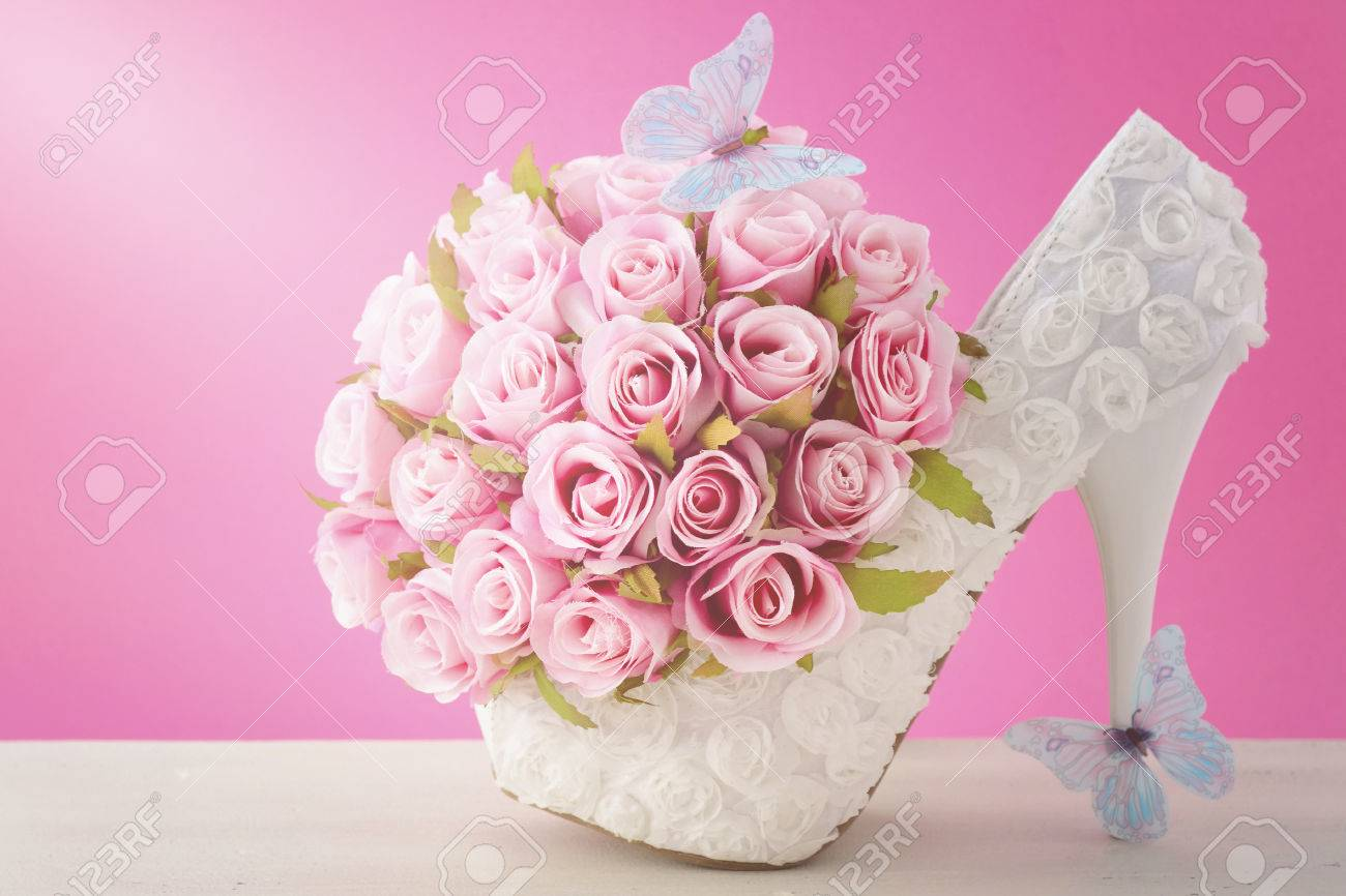 Wedding Day Pink And White Bouquet Of Silk Roses With Blue Butterflies Stock Photo Picture And Royalty Free Image Image 40082242