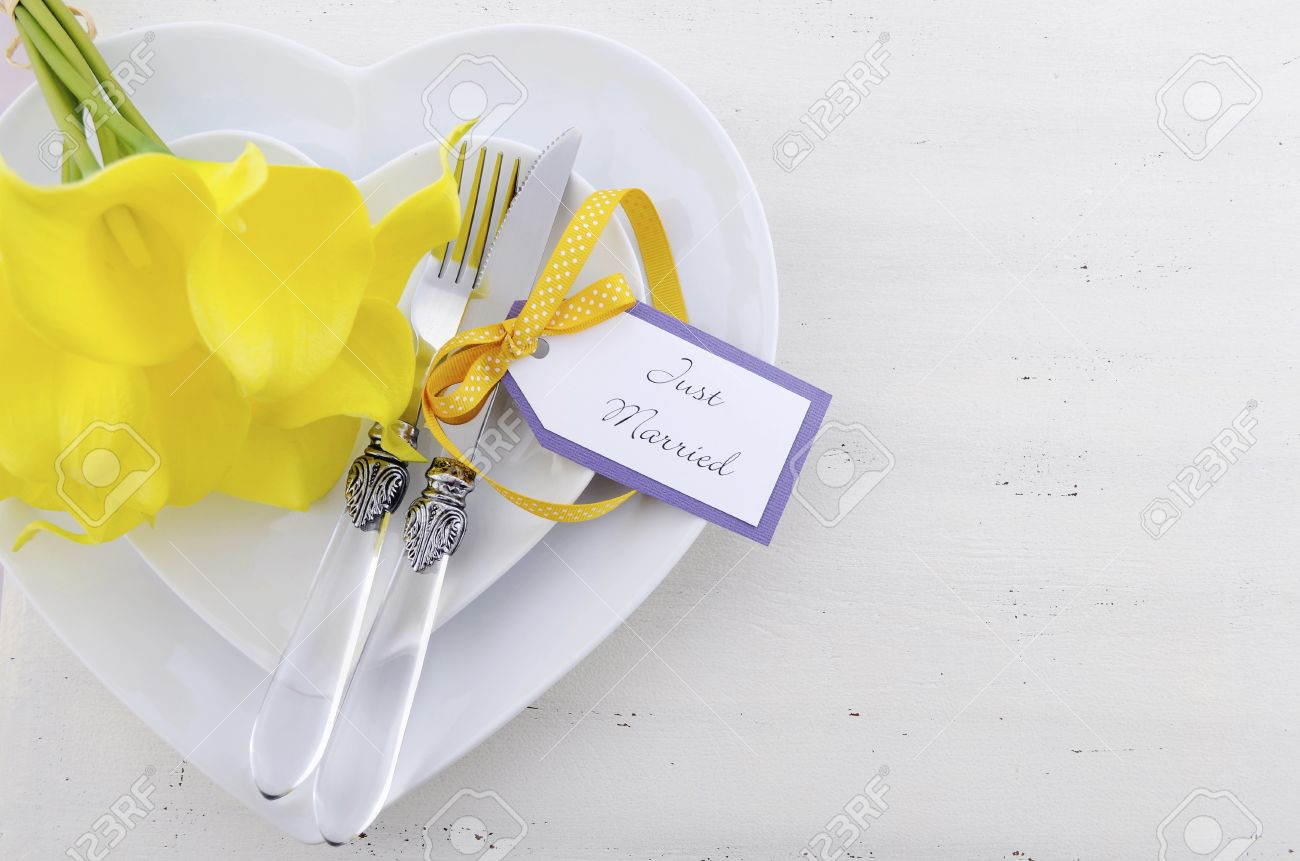 Yellow And White Theme Wedding Table Place Setting With Heart ...