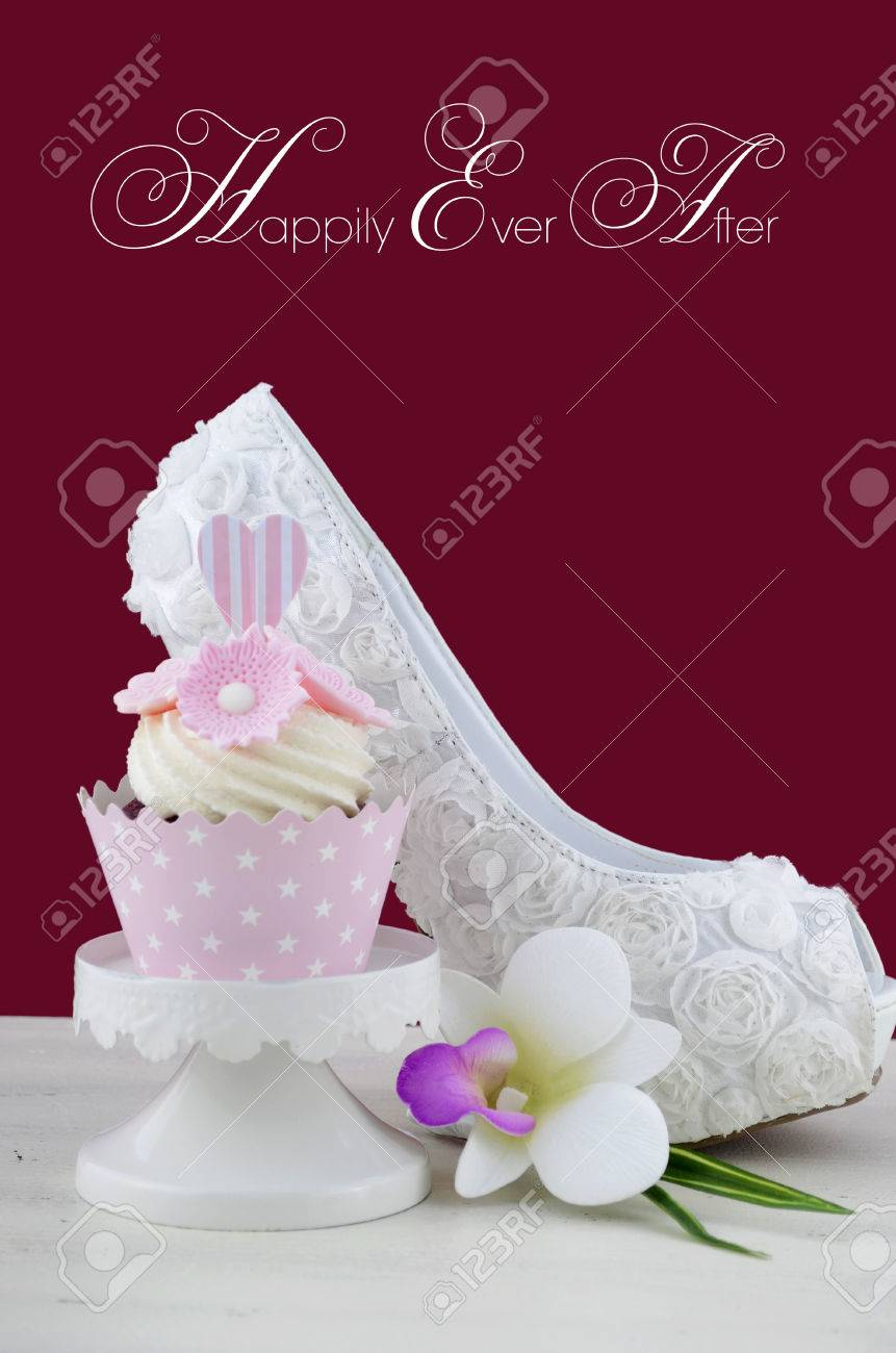 Fantastic Beautiful White High Heel Shoe On White Shabby Chic Table With Birthday Cards Printable Inklcafe Filternl