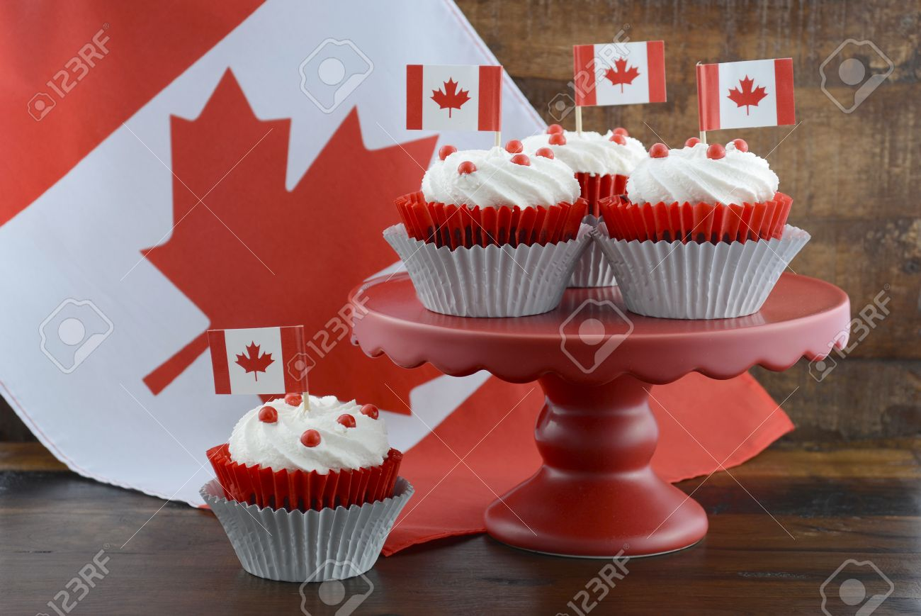 Happy Canada Day Celebration Cupcakes On Red Cake Stand With Red ...