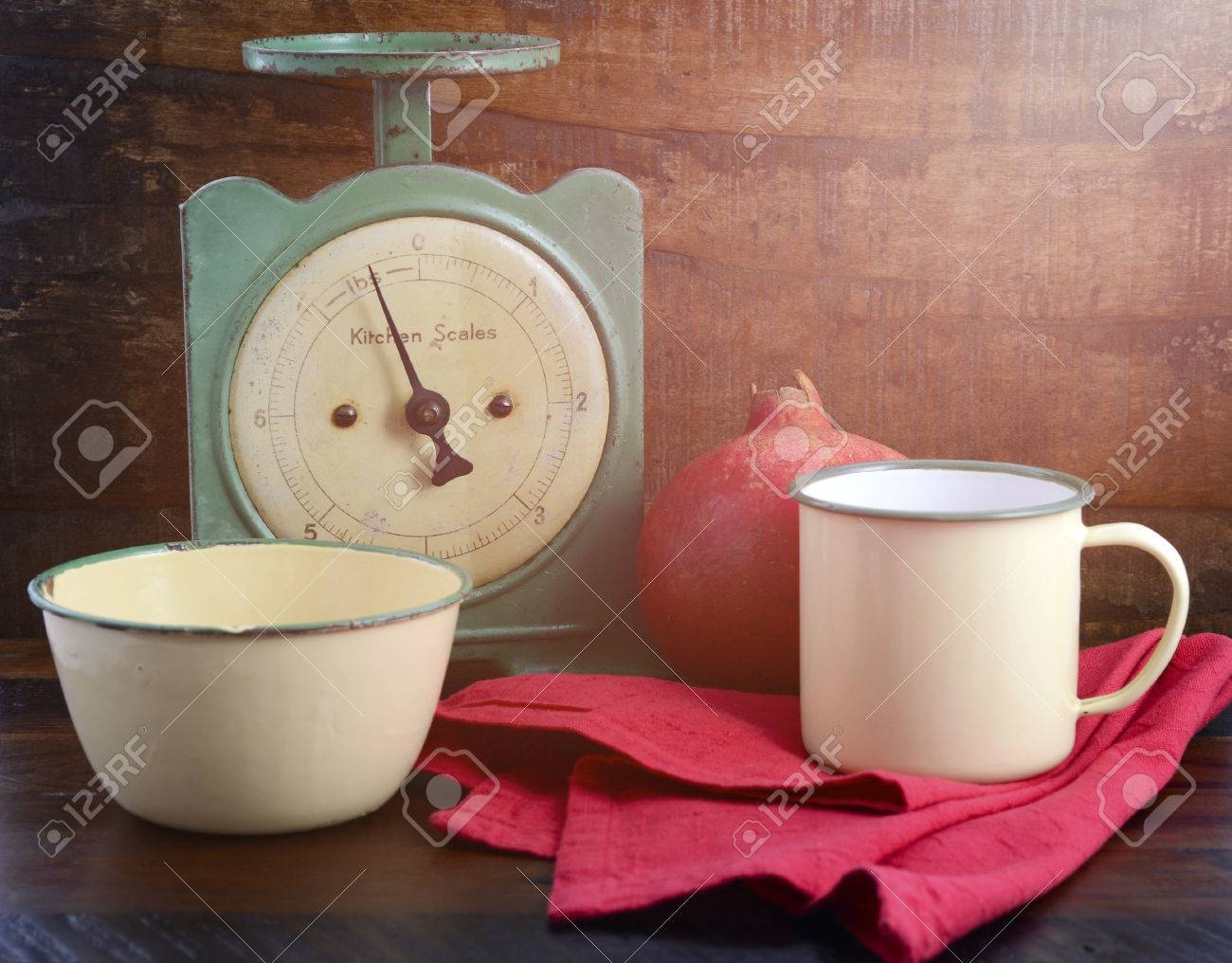 Vintage Kitchen Scales And Tin Cups And Pans On Dark Reclaimed Wood  Background, With Applied