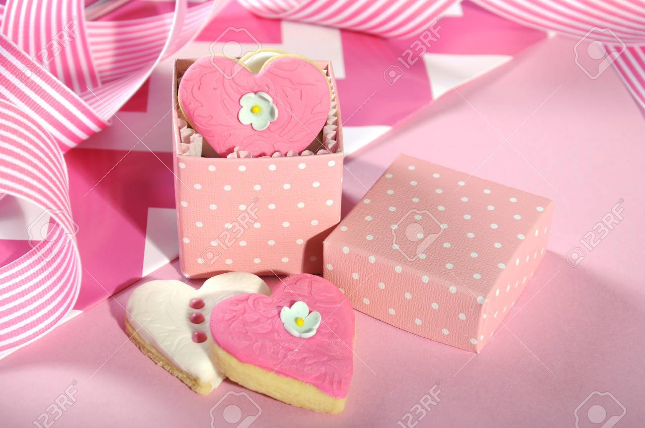 Valentine Or Wedding Heart Shape Pink And White Cookies In Polka ...