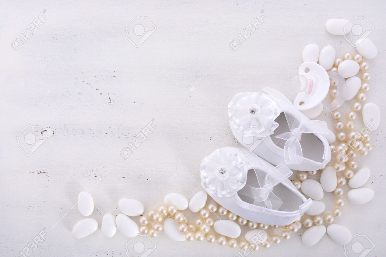 13c303dbcbe Baby Shower Neutral White Background With Baby Booties