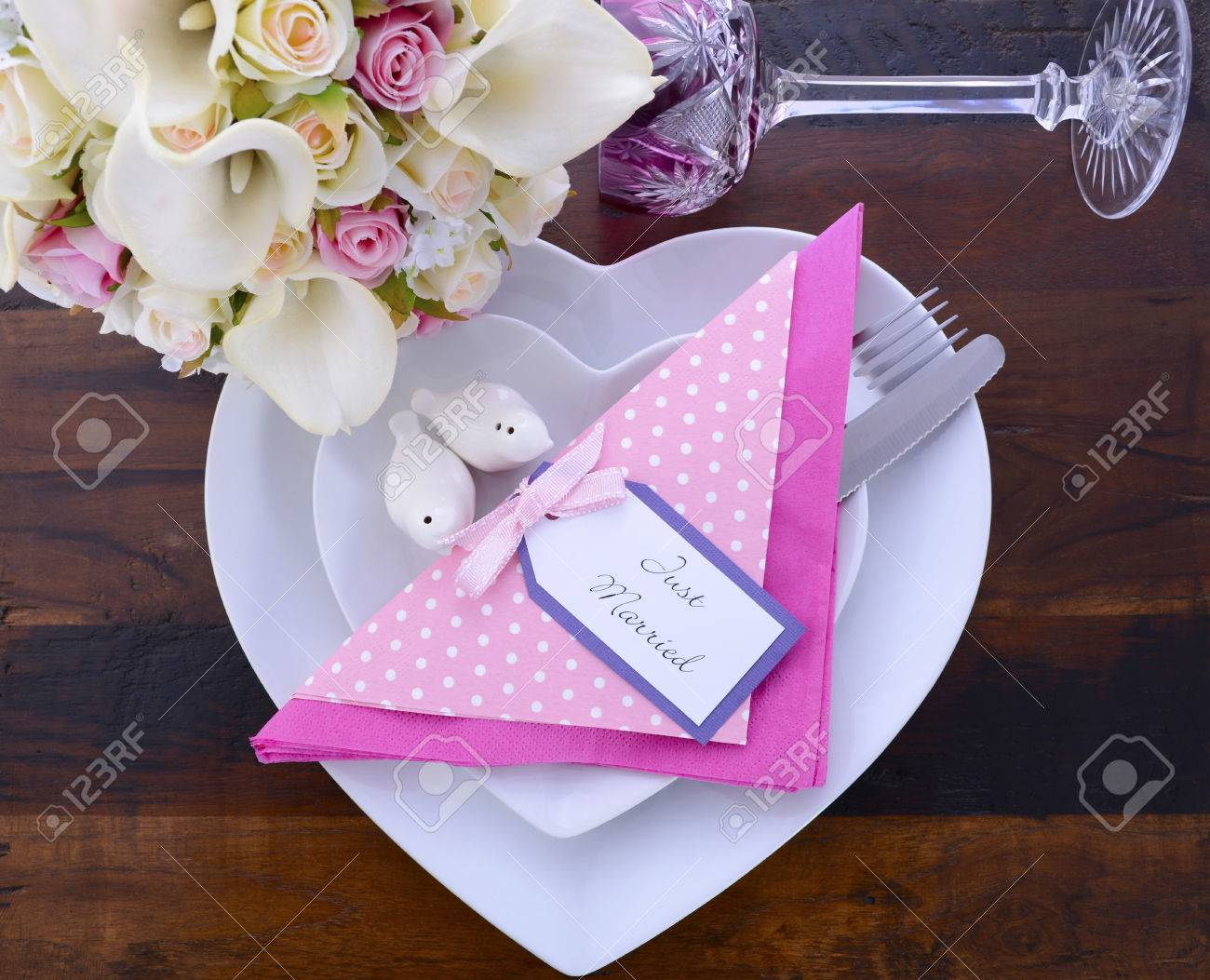 Pink Theme Wedding Table Place Setting With White Heart Shape ...