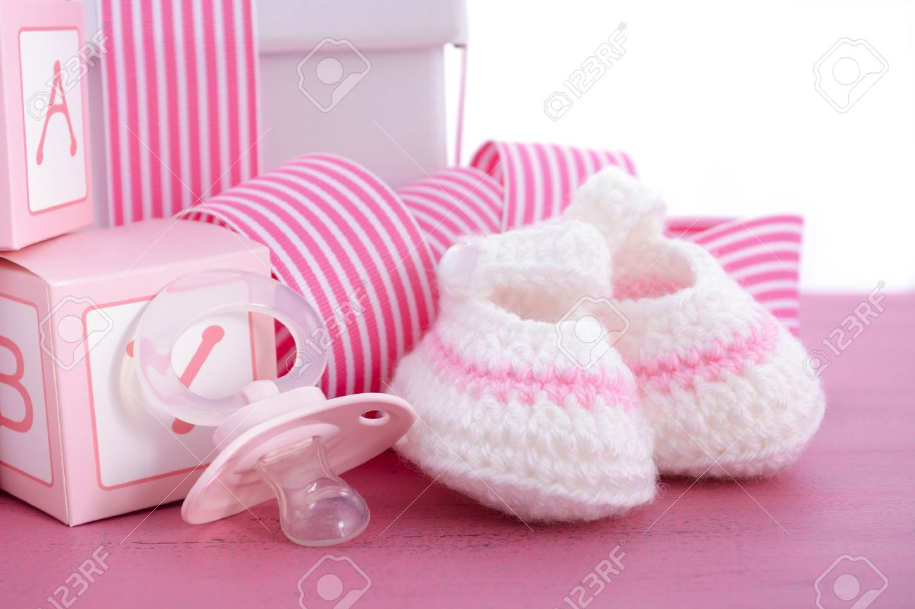 Baby Shower Its A Girl Pink Gift With Baby Booties, Dummy And Gift Box On