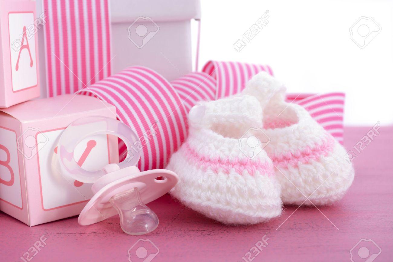 pink booties baby