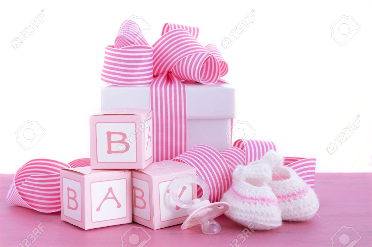 Good Baby Shower Its A Girl Pink Gift With Baby Booties, Dummy And Gift Box On