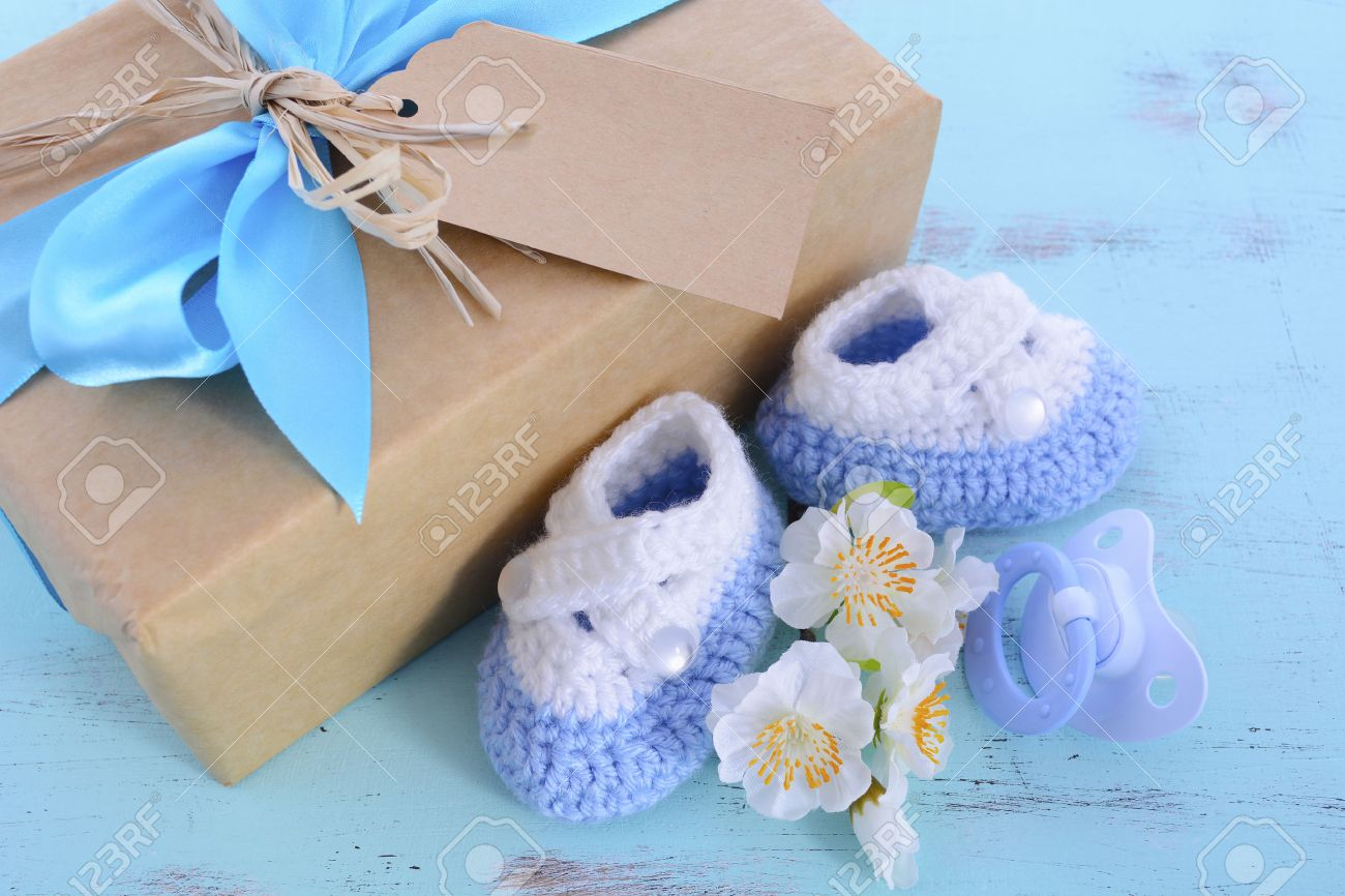 Baby Shower Its A Boy Natural Wrap Gift With Gift Box, Baby ...