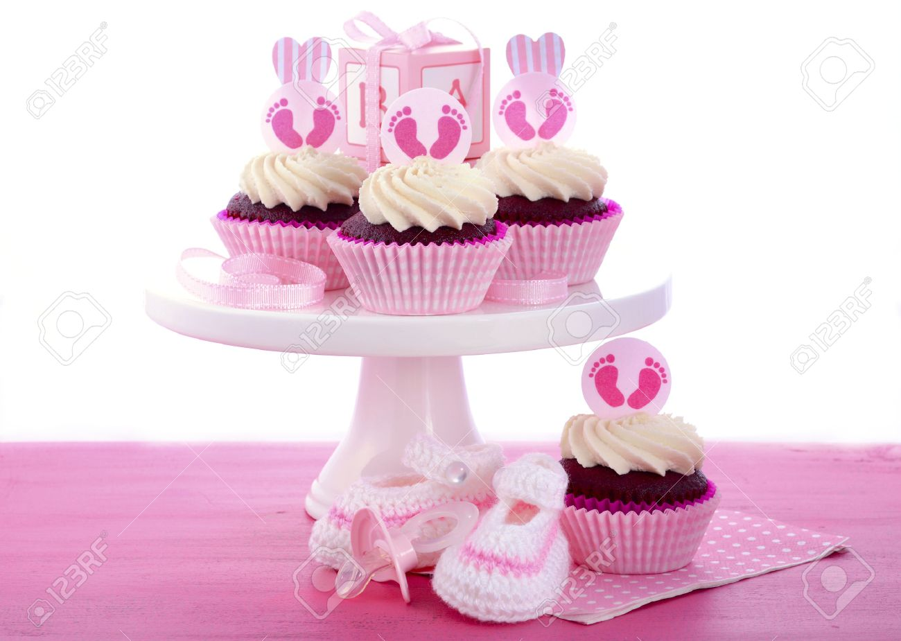 Its A Girl Baby Shower Cupcakes With Baby Feet Toppers And Decorations