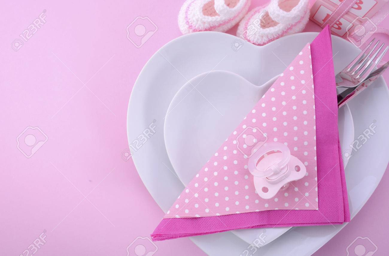 Table Setting Background its a girl pink theme baby shower table setting with heart shape