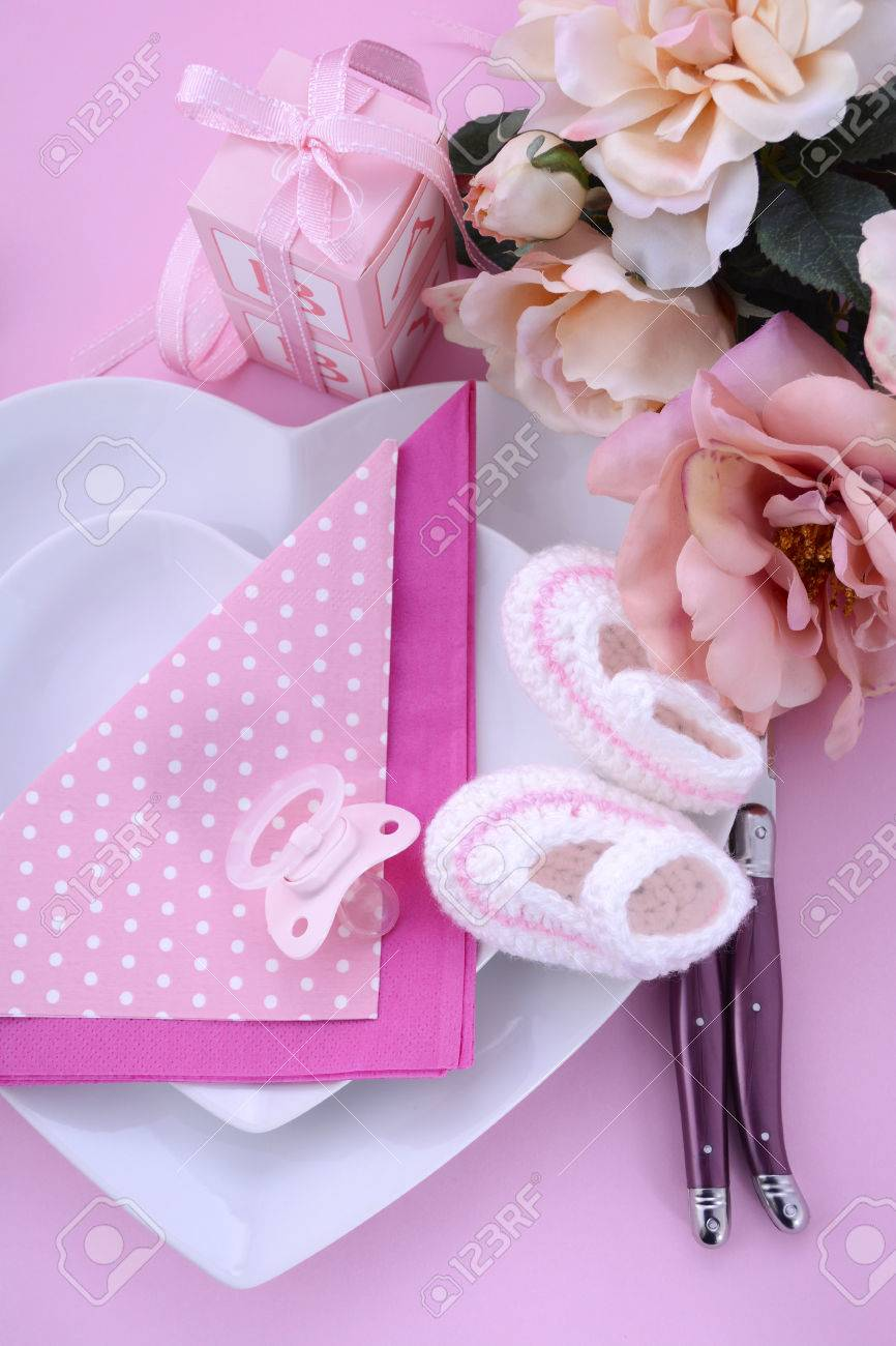 Its A Girl Pink Theme Baby Shower Table Setting With Heart Shape ...
