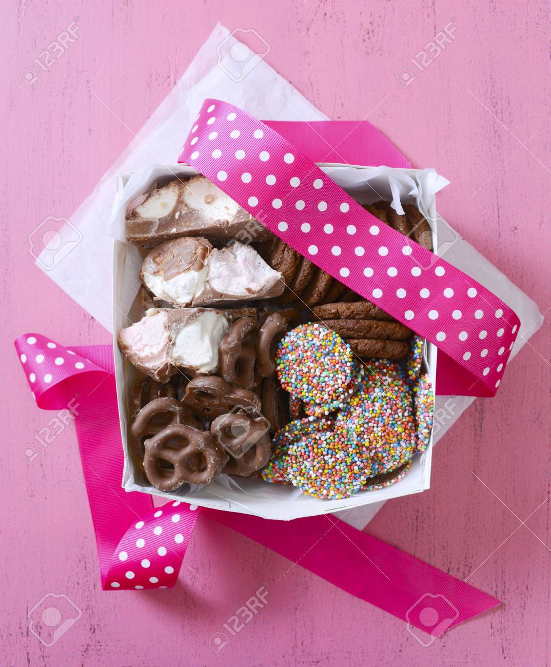 Chocolate Candy And Cookies Gift Box, With Chocolate Covered.. Stock ...