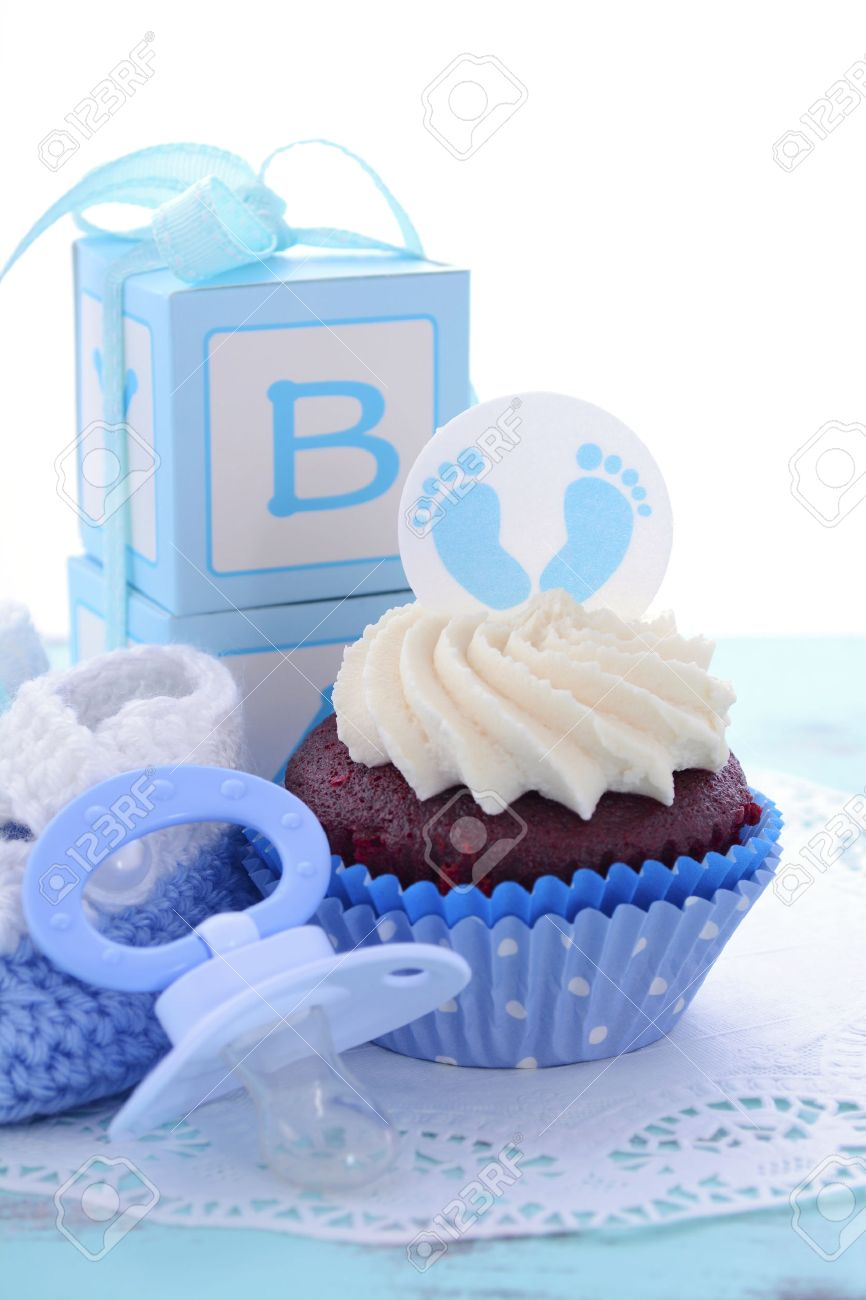 Its A Boy Blue Baby Shower Cupcakes With Baby Feet Toppers And Decorations  On Shabby Chic