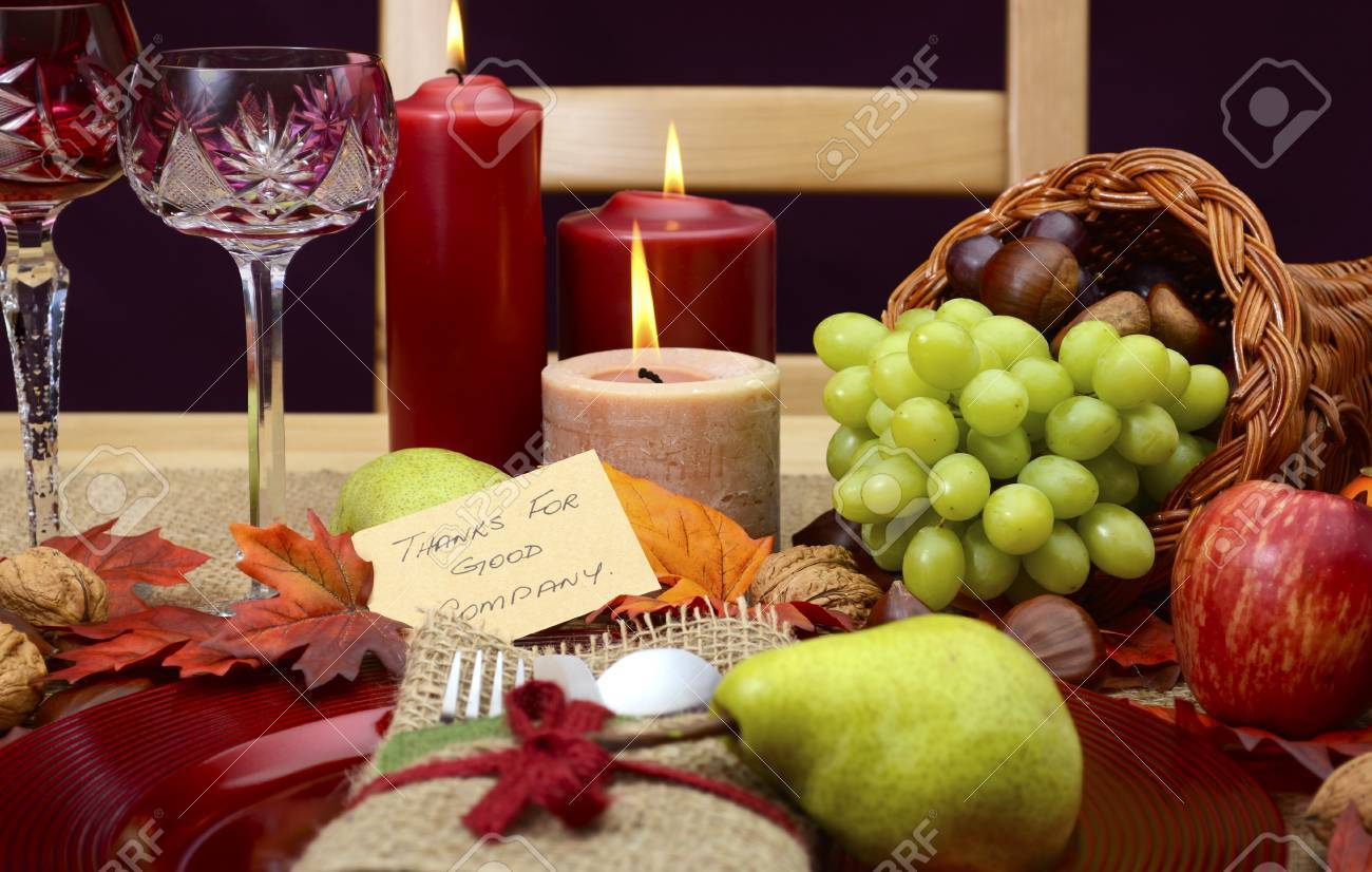 Country Style, Rustic Thanksgiving Table Place Setting Closeup ...