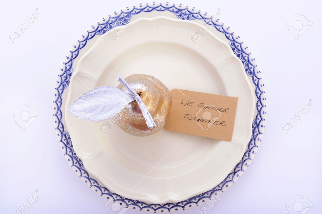 Blue And Gold Table Setting Blue White And Gold Thanksgiving Table Setting With Vintage
