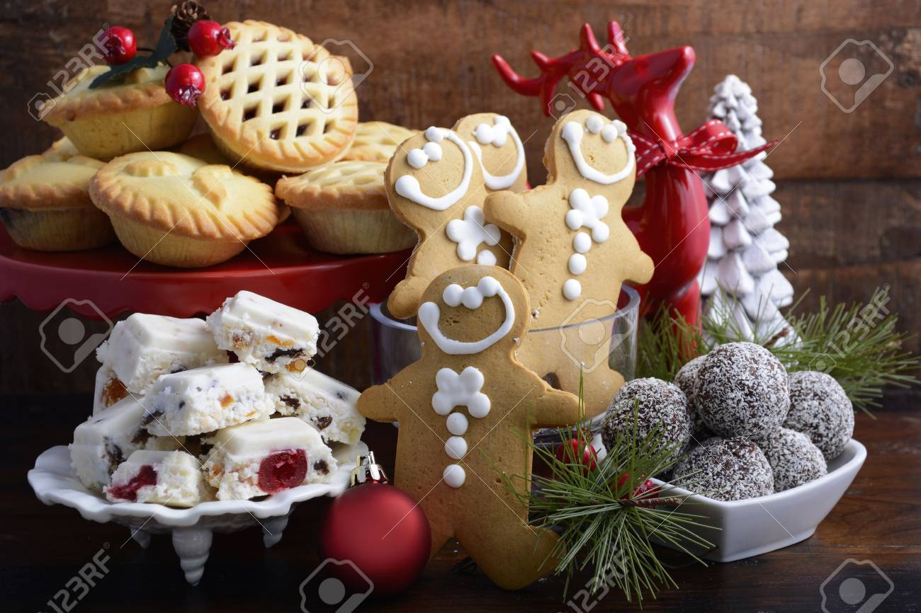 Christmas Sweets.Traditional Christmas Sweets And Party Food Spotlighted In Festive