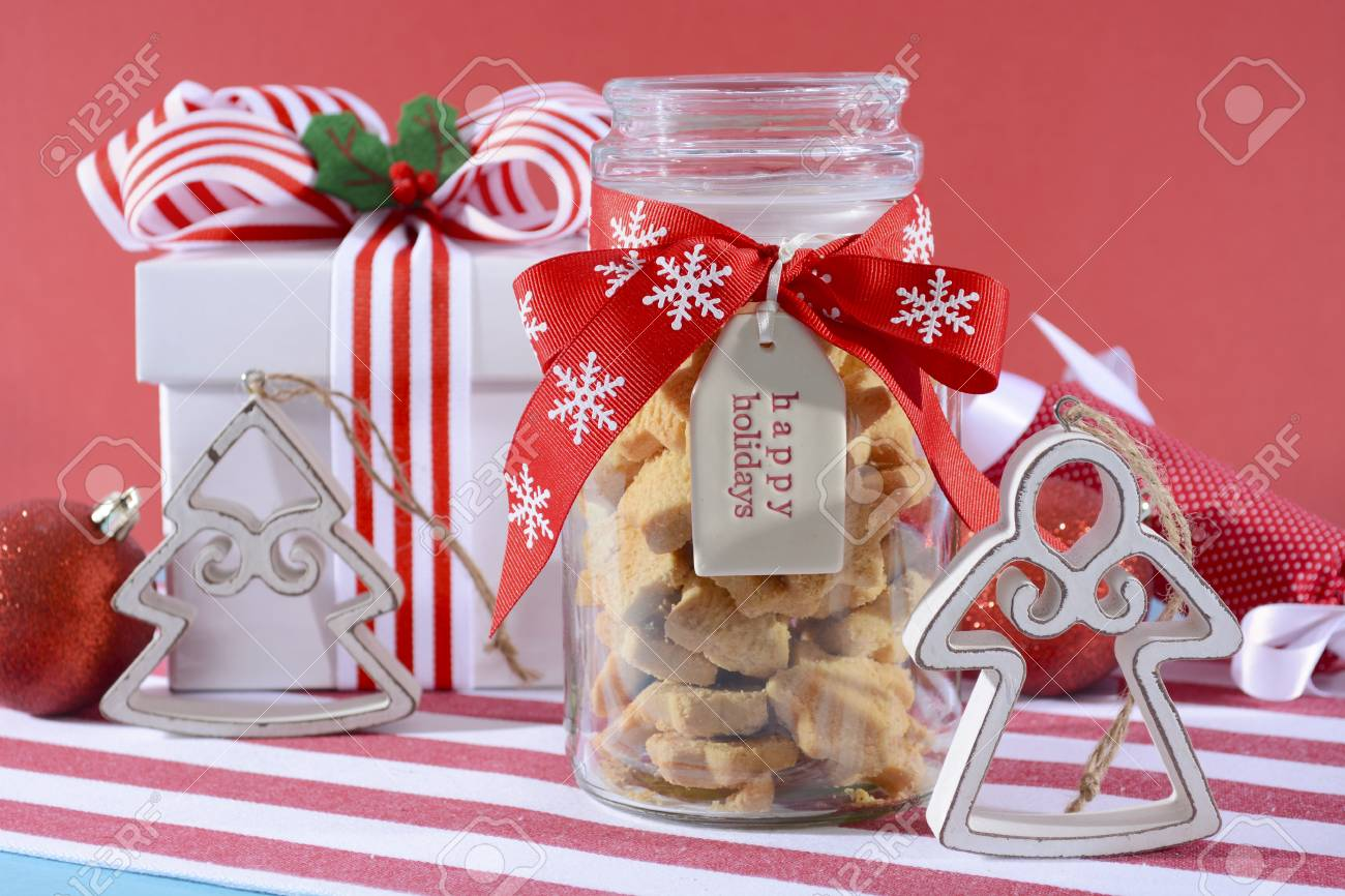 Traditional Christmas Gift Of A Glass Jar Of Star Shaped Shortbread ...