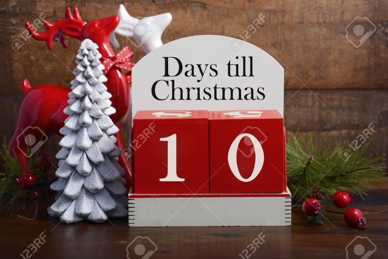 Until Christmas 10 Weeks Till Christmas.10 Days Till Christmas Vintage Style Wood Calendar With Red And