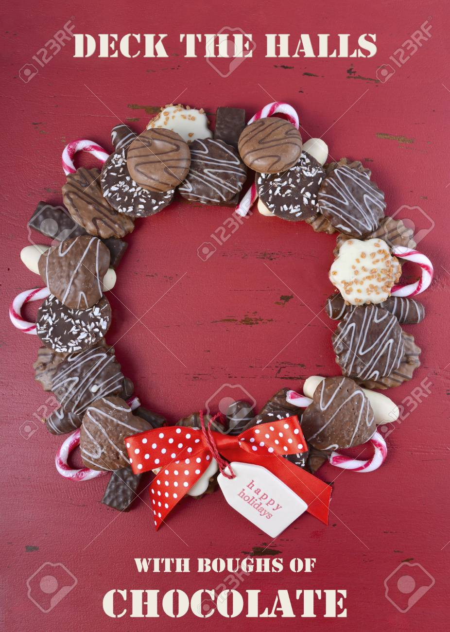 Chocolate Cookie Christmas Wreath With Candy Canes And Happy Stock Photo Picture And Royalty Free Image Image 49075553