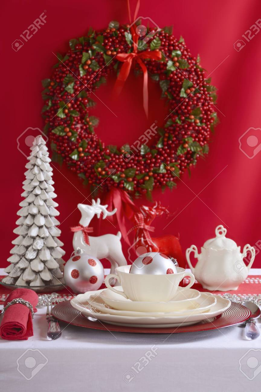 Festive red and white Christmas Table Setting with fine china place setting reindeers and holiday & Festive Red And White Christmas Table Setting With Fine China ...