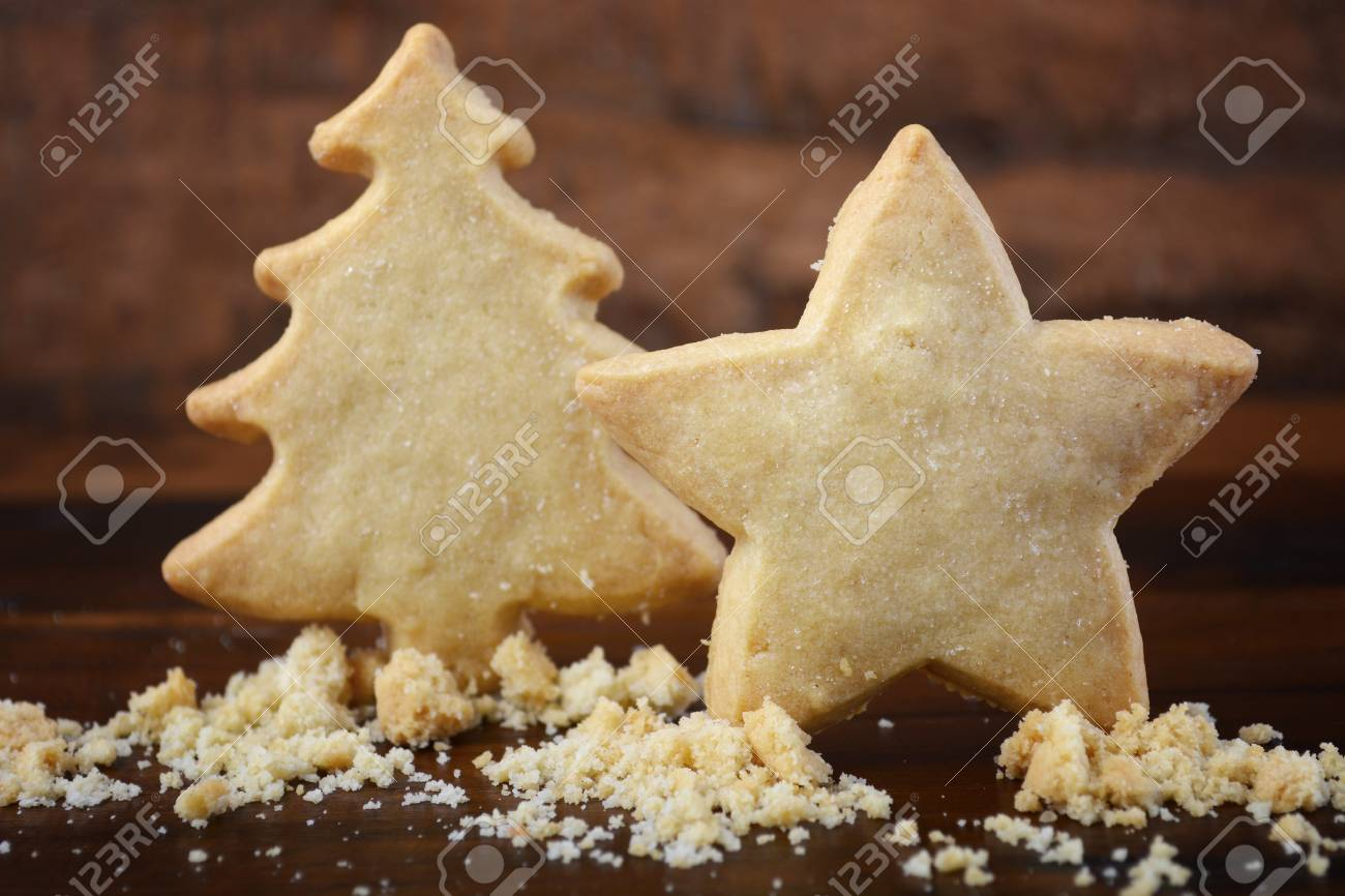 Festive Christmas Tree And Star Shaped Shortbread Cookies Standing